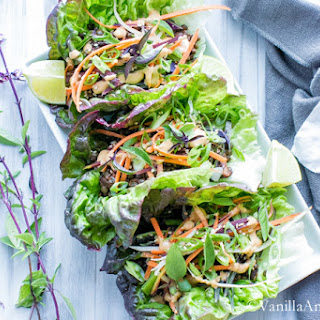 Curried Lentil Lettuce Wraps with Miso Sriracha Peanut Sauce