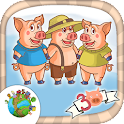 Three little pigs for kids icon
