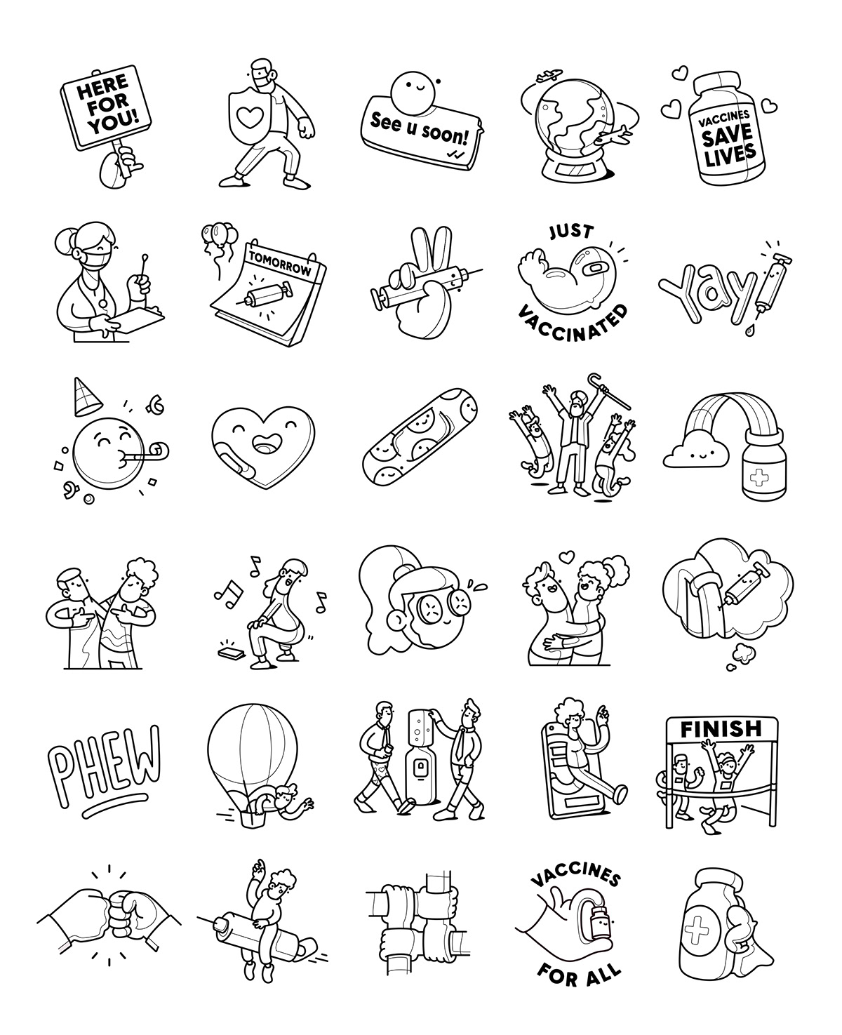 Character COVid cute delightful design happy pandemic relief connect pastel