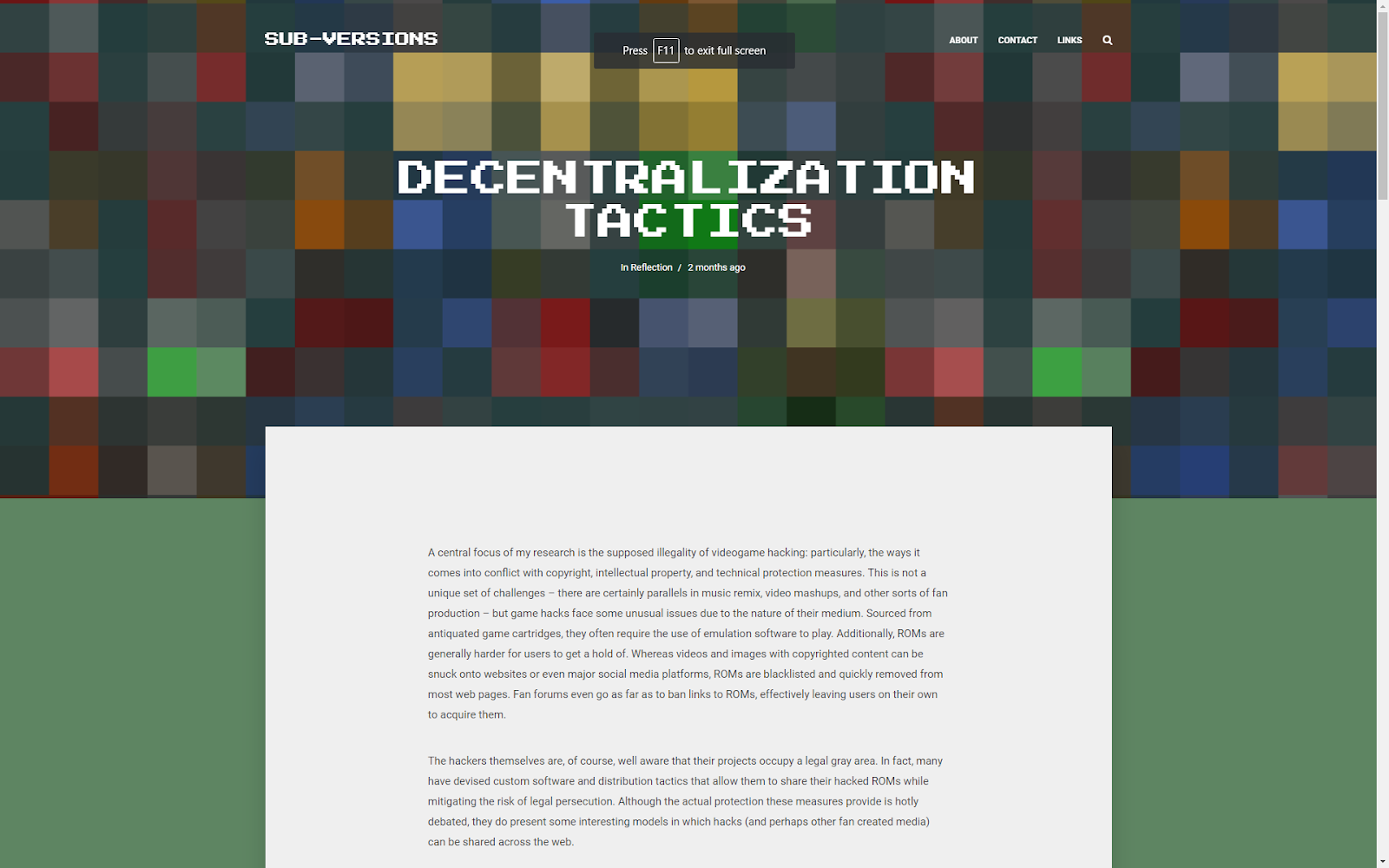 "a screenshot showing a blog post that is titled ""decentralization tactics."""