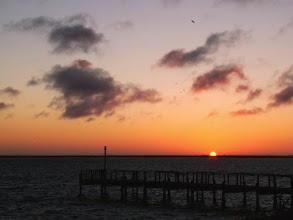 Photo: Coucher de soleil sur Walis Bay en Namibie