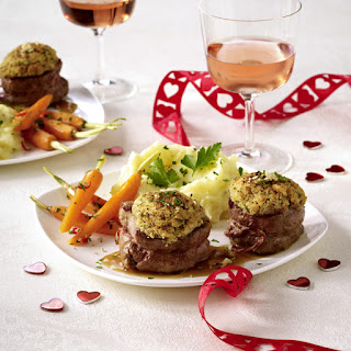 Pork Medallions with a Herb and Nut Crust.