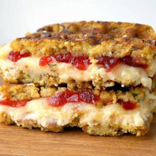 Stuffing-Waffle Grilled Cheese with Mashed Potatoes and Cranberry Jam and Muenster.