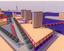 Photo: [1999 ©-Woningsrichting Onze Woongemeenschap OWG en ©-verzameling KBO] - http://www.Katendrecht.info - schetsen & studies - artist impression mogelijk alternatief Fenixloodsen (zie <2 op plattegrond).