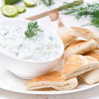 Greek Cucumber Yogurt Dip with Pita Wedges.