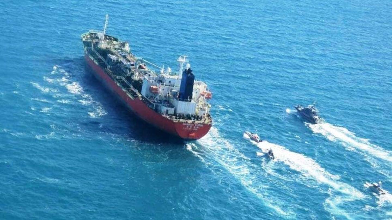 IRGC boats swarm the South Korean-flagged tanker Hankuk Chemi on Jan. 4, 2021.