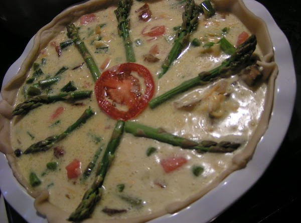 Pour into a 9-inch pie shell and decorate with tops of leftover asparagus and...