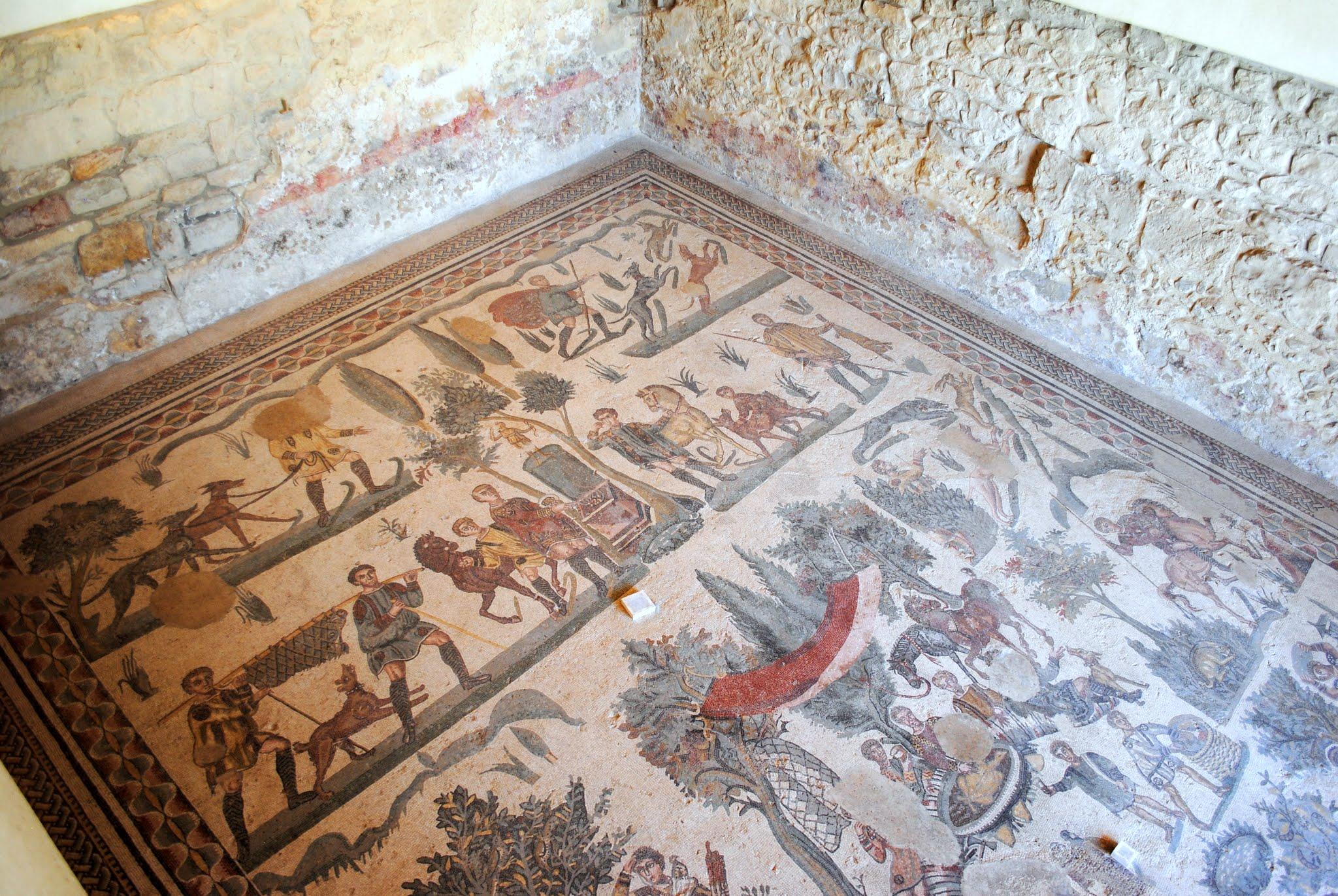 My Photos: Italy -- Mosaics -- Sicily -- Piazza Armerina -- The Room of the Little Hunt Mosaic