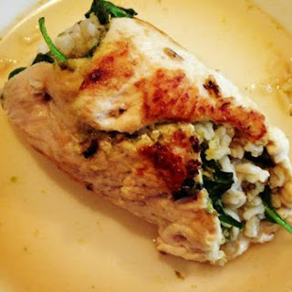 Chicken Rollintini with Pesto, Baby Spinach & Brown Rice.