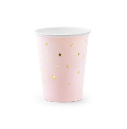Muggar - Ljusrosa med guldstjärnor