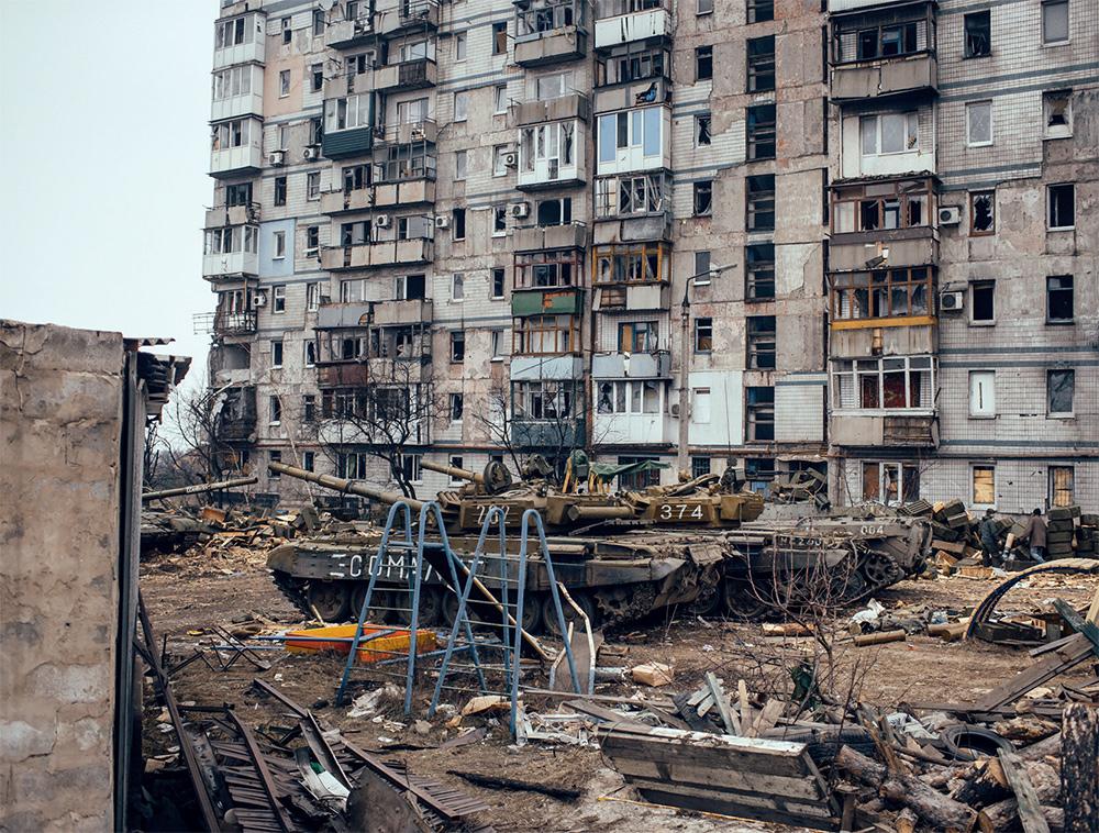 Октябрьский район Донецка после столкновений сепаратистов и украинской армии