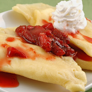 Sweet Dessert Pierogi with Strawberry Sauce