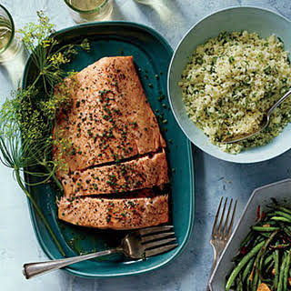 Roasted Side of Salmon with Shallot Cream.