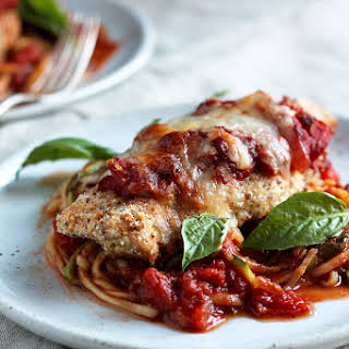 Healthy Baked Chicken Parmesan with Zucchini Noodles (gluten free!).