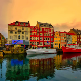 WATERWORLD by Michael Rey - City,  Street & Park  Neighborhoods ( copenhagen, skyline, riverway, nyhavn, boats, neighborhood, architecture, denmark,  )