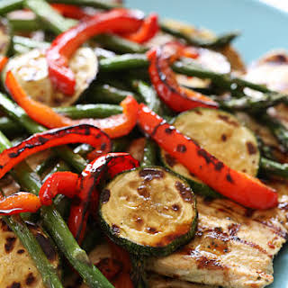 Honey Balsamic Grilled Chicken and Vegetables.
