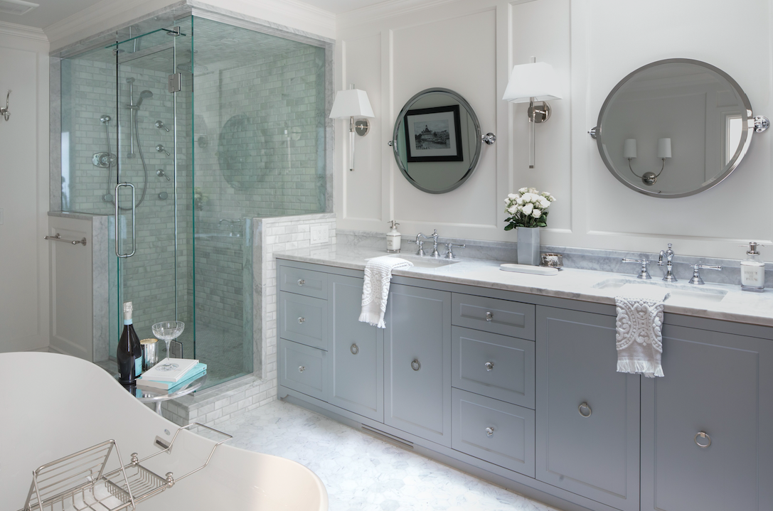 Fresh, traditional master bathroom suite design and renovation by Calgary firm, LeAnne Bunnell Interiors.