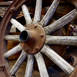 Weary Wagon Wheel by Barbara Brock - Artistic Objects Antiques ( wooden wheel, wagon wheel, old wheel, round, spokes )