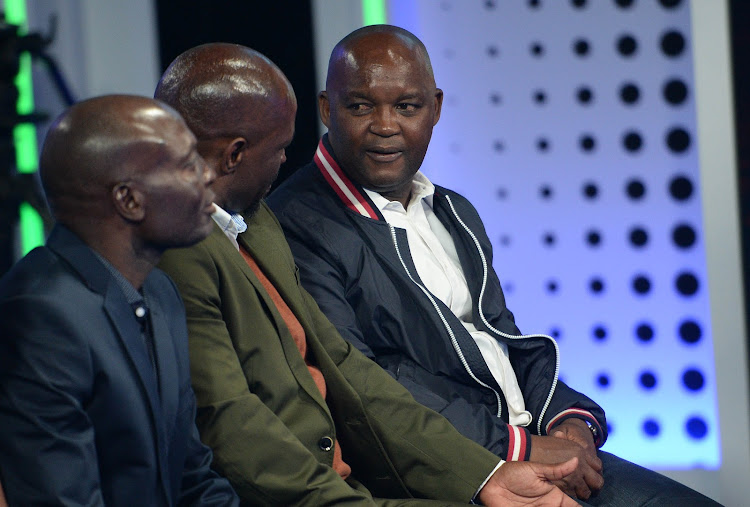 (From left to right): Baroka FC coach Wedson Nyirenda (L) sits next to his Bloemfontein Celtic counterpart Steve Khompela (C) and Mamelodi Sundowns boss Pitso Mosimane during the launch and draw of the Telkom Knockout cup in Randburg on Monday October 8, 2018.