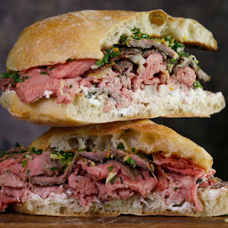 Italian Roast Beef on Ciabatta with Ricotta and Horseradish Gremolata, Caesar Slaw with Celery