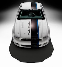 Photo: Mustang Cobra Jet Twin-Turbo Concept: The Mustang Cobra Jet Twin-Turbo Concept features a unique interpretation of the new Ford Racing global identifier with black and blue bars on the C-pillar and stretching the length of the body and the striking cobra on the sides. (10/30/2012)