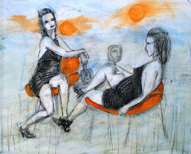 """Photo: Harvest Moon, 2012, 17"""" x 14"""", mixed media on 90lb archival paper. I drew two poses of the same model on the same page, and she is holding a mirror in which she is reflected. I've called it Harvest Moon to celebrate the model's pregnancy of 6 months."""