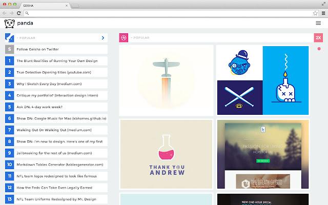 Panda Hacker News Dribbble Designer News Chrome Web Store