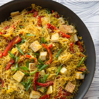 Singapore Noodles with Pan-Fried Tofu.