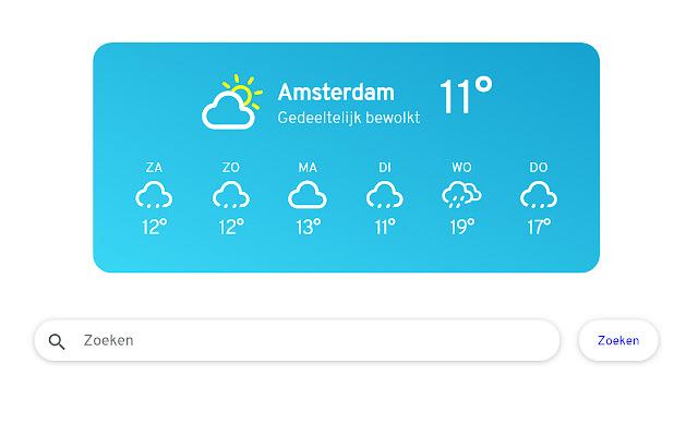 Weer - weersvoorspelling bij elk nieuw tab
