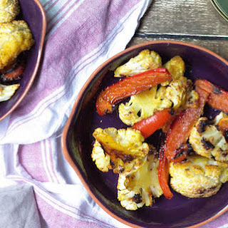Sweet Saffron Roasted Cauliflower and Peppers [Vegan, Gluten-Free]