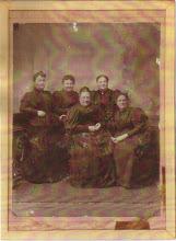 Photo: Dit zijn de vijf zusters van mijn overgrootvader Cornelius Dasse Keppel Hesselink. Staand vlnr: Johanna Theodora Frederika (1849-1933), getrouwd met een wijnhandelaar. Hermanna Gijsberta (1845-1925), ongehuwd (lacht ze daarom naar de fotograaf?) Sara Helena (1842-1922), getrouwd met een journalist in Zuid-Afrika. Zittend vlnr: Jeantine (1840-1913), getrouwd met een rechter. Egberdina Clasina (1843-1918), getrouwd met een bankier.