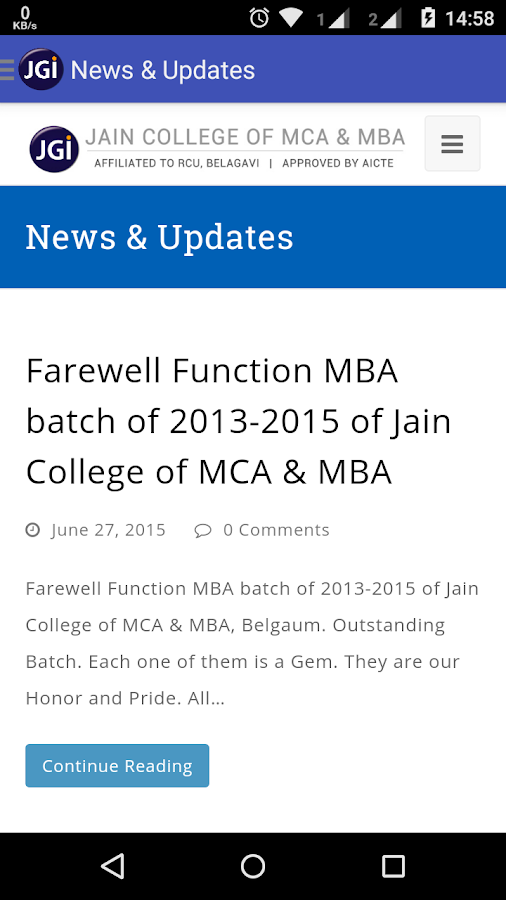 JCMM Jain College of MCA & MBA- screenshot
