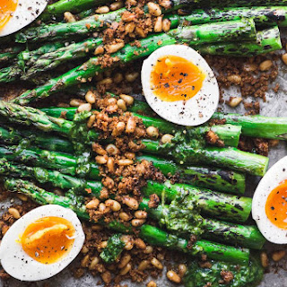 Roasted Asparagus with Crispy Breadcrumbs, Pine Nuts, and Runny Eggs Recipe