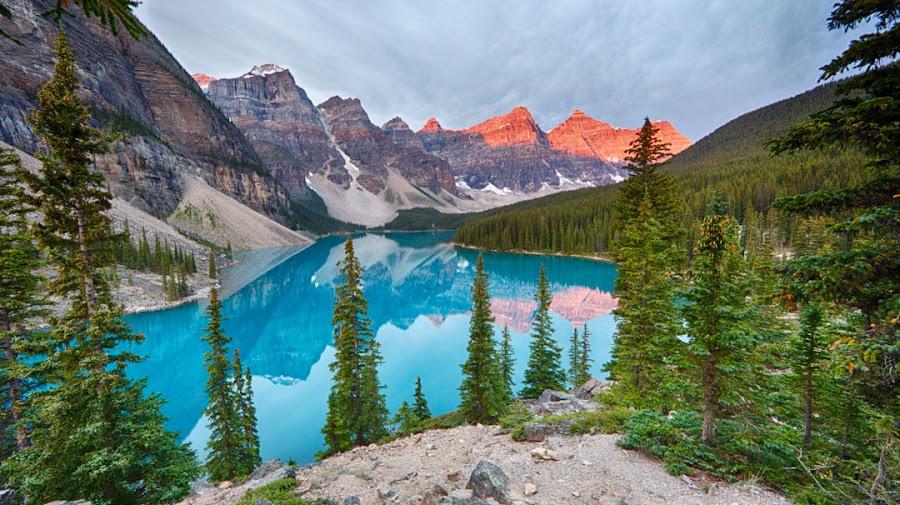 Moraine Lake by Jack Nevitt - Landscapes Mountains & Hills ( glacier, mountains, canada, pano, park, national, st mary, lake, recreation, landscape, banff, usa )