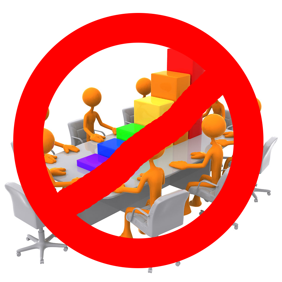 picture of some virtual people meeting around a table, with a big red banned sign over top