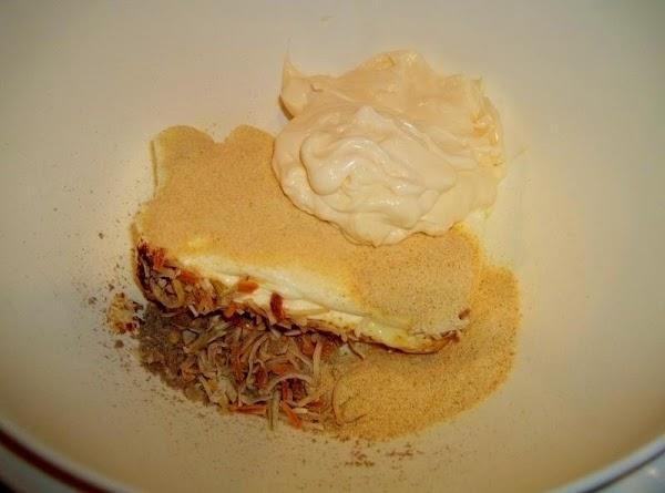 Mix cream cheese, garlic powder, onion powder, onion soup mix and mayonnaise, with an...