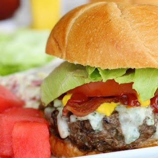 Blue Cheese Burgers with Mushrooms and Bacon Recipe