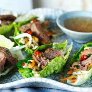 Vietnamese Beef And Lettuce Wraps.