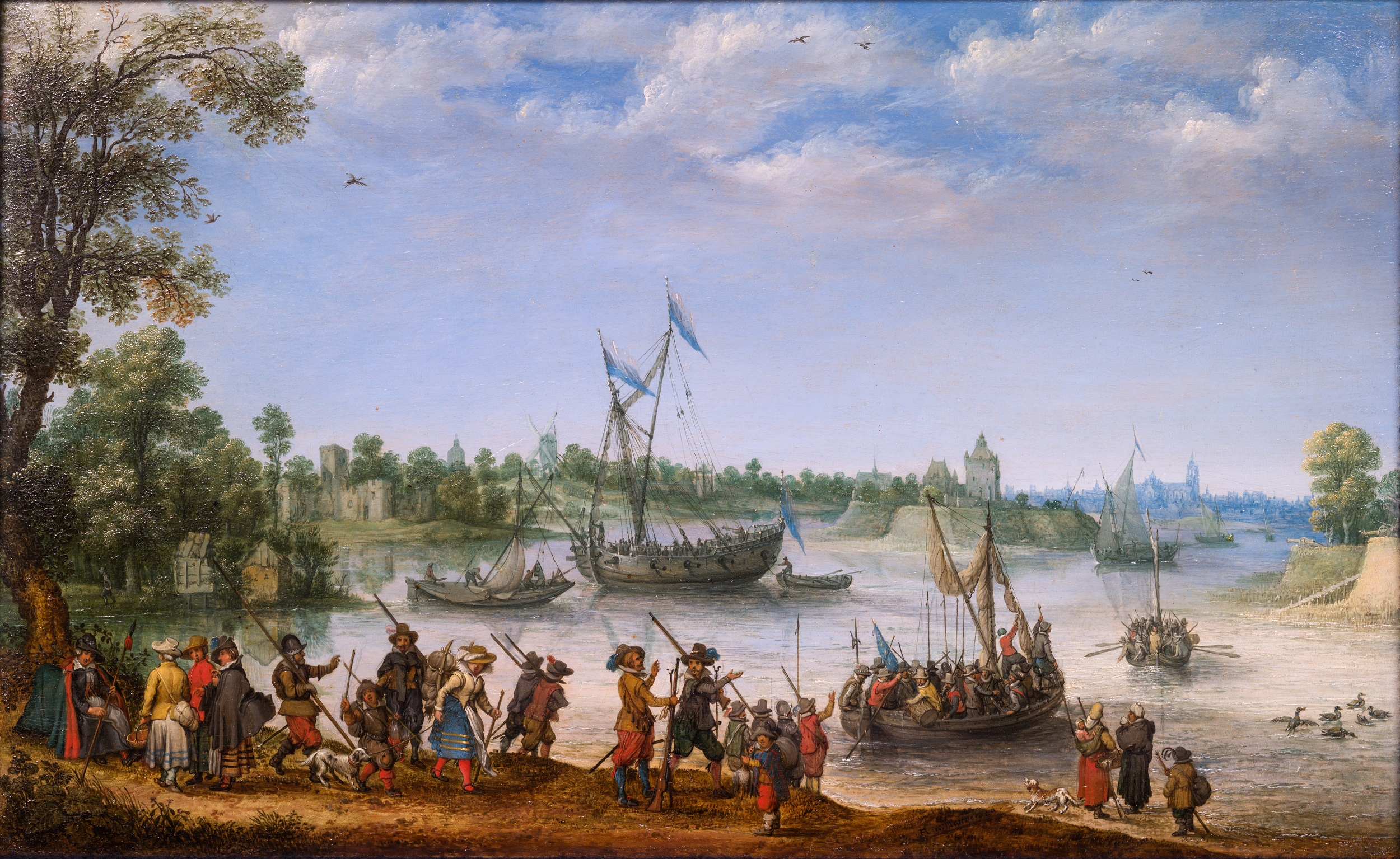 The Departure of the Pilgrim Fathers from Delfshaven on their Way to America on July 22, 1620.