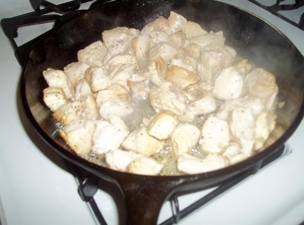 On medium heat brown chicken chunks seasoned with kosher salt and pepper. Brown just...