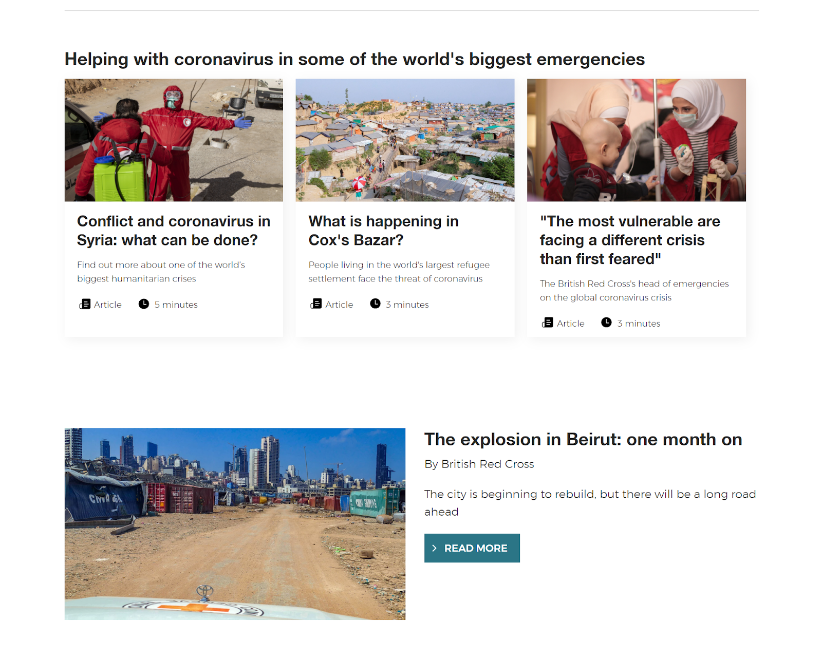 Screenshot of British Red Cross charity blog.