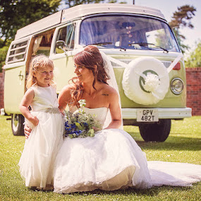 The Bride and Her Flower Girl by Ian Taylor - People Family ( vw, camper, grass, family, wedding, beauty, flowers, bride, volkswagon )
