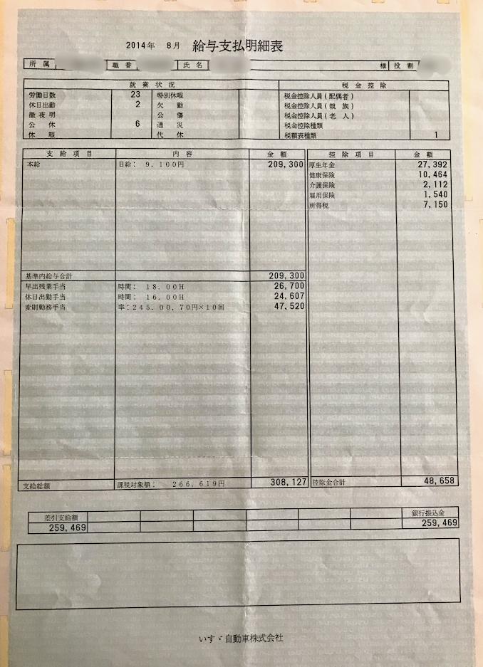 いすゞ自動車藤沢工場・2014年8月給料明細