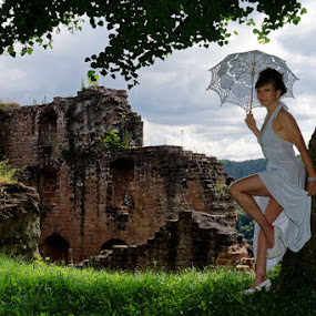 Very scenic view by Johannes Oehl - People Fashion ( muscular, romance, parasol, fashion-photography, scenic, building, frankenstein castle, leg, beautiful, one female adult only, palatinate forest-north vosges biosphere reserve, weather, place of interest, medieval architecture, abandoned, lonely, shoulder, costume, brickwork, old, relaxation, july, ancient, 11 brown iris, stone wall, forest, martin-schultz scale, sandstone, summer, bow window, unesco, brunette, lower leg, europe, arm, architecture, frankenstein, middle ages, accessories, medieval, people-photography, brown hair, dark mixed eyes, knee, standing, outdoors, fair skin, fashion, romanesque, dress, castle, female hairstyle, 12th century, thigh, apparel, rheinland-pfalz, lower arm, upper-arm, looking at camera, cloud, up do, rhineland-palatinate, wardrobe, female, ruin, smiling, pfalz, upper leg, relaxing, tree, german ethnicity, history, not in use, thin, spur castle, red sandstone, idyllic, person, outside, leaning, underarm, brick wall, germany, palatinate, 55-60 years, romantic, palatinate forest, brick, 1 person, brunet, lovely, historic, nature, sexy, biosphere reserve, brown eyes, clothes, stone, outdoor, window, dark age, out of order, accessory, wall, summertime )