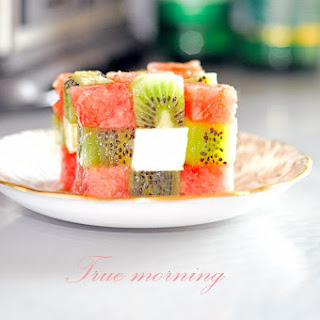 Rubik's Cube Salad with Watermelon, Kiwi and Feta.
