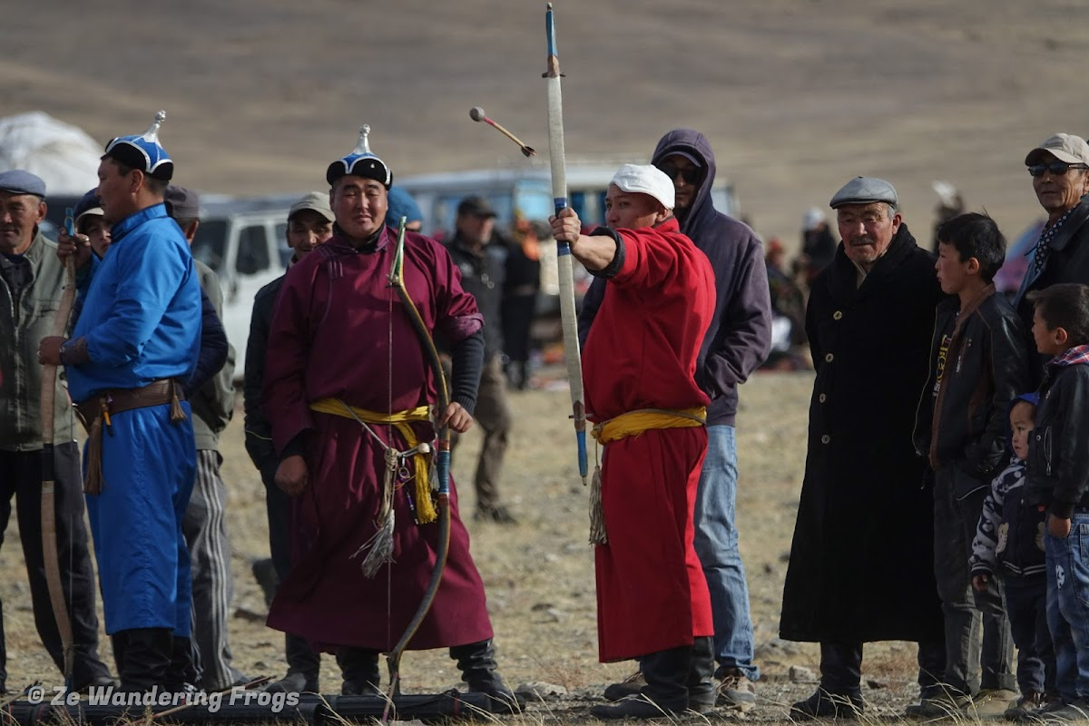 Mongolia. Golden Eagle Festival Olgii. Golden Eagle Festival Archers