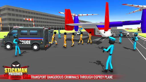 US Police Stickman Criminal Plane Transporter Game apktram screenshots 4
