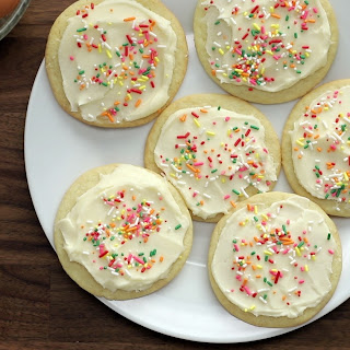 Soft Frosted Sugar Cookies.
