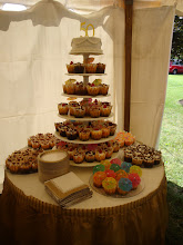 Photo: the cup cake fountain at the 50th wedding anniversary to which we were invited after our tour of Butler