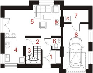 Dom przy Polnej 2 - Rzut parteru
